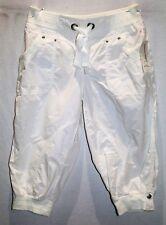 Hot Options Brand White Rib Trim Elastic Waist Cropped Pants Size 10 BNWT #TO15