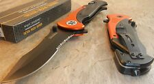TAC-FORCE Spring Assisted Opening EMT EMS ORANGE HUGE Rescue Folding Knife