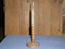 RARE 18th C OLD EARLY TURNED WOOD PRIMITIVE CANDLE STICK HOLDER BLUE PAINT