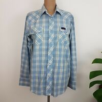 Thomas Cook Mens Western Shirt SZ S Blue Check Pearl Snaps Country Casual