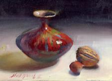 Scarlet Vase  5x7 in. Oil on panel - Hall Groat II, American Artist