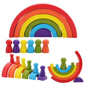 12PCS Wooden Rainbow Building Stacking Blocks Baby Toddler Montessori Toy Gift