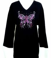 PLUS 2X 3/4 or Short Sleeve Top Rhinestone Breast Cancer Pink Ribbon Butterfly