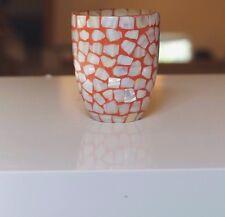 Ceramic Glass Vase Cup Mosaic Stonework pattern Orange,Cream Colors, Home Decor