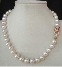 "20"" real 10-11MM AAA++ GENUINE WHITE SOUTH SEA AKOYA PEARL NECKLACE"