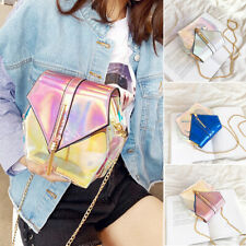 Holographic Shoulder Messenger Bags Women Transparent Handbag PVC Cross-Body Bag