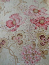 Antique French Poppy Hydrangea Clover Floral Cotton Fabric ~ Pink Eggplant