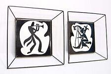 MiD CENTURY ReTrO PiLKiNGTON B/W MUSiCiAN TiLE WALL ART *FREDRiCK WEiNBURG FRAME