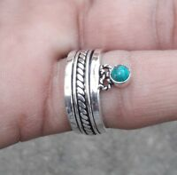 Turquoise 925 Sterling Silver Meditation Statement Ring Spinner Ring s1