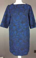 Mango MNG Suit Shift Dress Sz Large Midnight Blue Denim Look-Floral-Retro BNWT