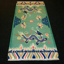 Orient Teppich China 176 x 91 cm Drachen Grün Handgeknüpft Dragon Carpet Rug