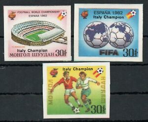 MONGOLIA , 1982 , three scarce SILK STAMPS ex OVERPRINTED SOCCER S/S , MNH