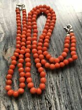 Antique old stock natural salmon red coral necklace and bracelet silver clasp