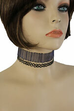 Women Grey Blue Fabric Fashion Jewelry Choker Necklace Black String 2 Pieces Set