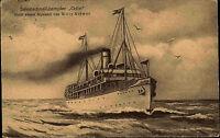 Salon-Schnell-Dampfer ODIN nach Willy Stöwer mit Schiffspost-Stempel 1921 gelauf