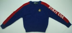 Rare VTG POLO RALPH LAUREN Cookie Patch USA Spell Out Sleeve Sweater 90s Kids 7