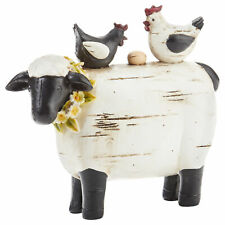Sheep With Chicken Black and White 7 x 6 Resin Stone Collectible Figurine