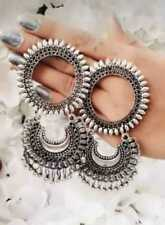 Indian Ethnic Traditional Bollywood Silver Oxidized Drop Earrings