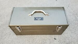 Vintage Park Olive Green Metal Tool Box Machinist Chest Model 84447
