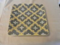 Ceramic Square Platter from Bee's Knees Summer Pattern, Gray, Yellow White