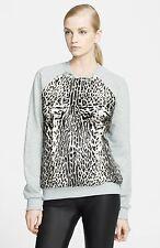 New $950 MSGM Leather Pony Hair Fur Gray Sweatshirt Sweater Top Sz M