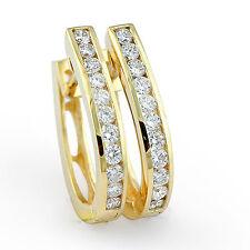 1.00Ct Round Channel Diamond Hoop Women's Men's Earring 14k Gold Yellow F VS1
