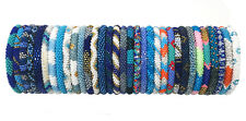 Crochet Glass Seed Bead Nepal Boho Bracelet - Wholesale Blue Scheme