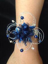 Wedding Prom Wrist Corsage Navy Blue On Diamond Bracelet ( Made To Order )