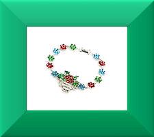 New Green Emerald, Blue Topaz & White CZ Sliver Bracelet 7.5 in FREE SHIP #261