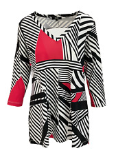 Lior Paris Women's Red & Black Line 3/4 V Round Neck Tunic