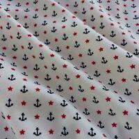 Interlock Jersey Stoff Anker Sterne 100% Baumwolle Maritim Kinderstoff Öko 0,5m