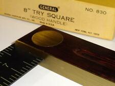 """VTG General 8""""Try Square No.830 Rosewood Rare Cabinetmakers NOS Tool USA Scarce"""