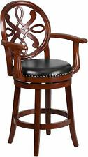 26'' High Cherry Wood Counter Height Stool with Arms Carved Back New