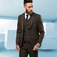 Brown Herringbone Men suit British Style Wedding Blazer 3 Pieces Groom Tuxedos