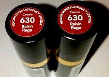 2 Tubes of Revlon Super Lustrous Lipstick CREME 630 RAISIN RAGE new