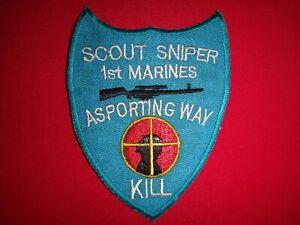 "US 1st Marines SCOUT SNIPER - A SPORTING WAY ""KILL"" Team - Vietnam War Patch"