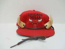90s Vintage Chicago Bulls  Snapback Novelty Hat Unique w/ Bull Horns