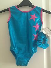"NEW Turquoise/pink Stars Leotard Scrunchy size 24"" age 3-4 by Zodiac Leos"