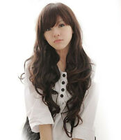 New Fashion Women's Long Brown Full Wavy Curly Cosplay Party Full Wig+Hair Cap