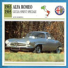 SCHEDA TECNICA AUTO DA COLLEZIONE - ALFA ROMEO GIULIA SPRINT SPECIALE 1963-1965