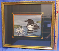 NEW Framed Picture Print Signed Dianne Krumel Loon Bird Lily Pad Flower Nature
