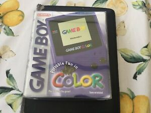 Nintendo GameBoy Colour Console Purple Boxed With Manuals and Protection Box.VGC