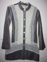 Chico's gray velour & lace duster jacket Sz 3