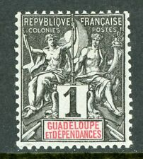 Guadeloupe 1892 French Colony 1¢ Scott #27 Mint H133