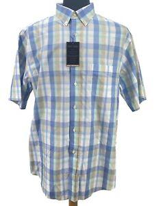 Men's Dress Shirt Size XLT Tall Blue White Plaid Gold Label Roundtree Yorke New