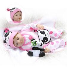 22inch Real life Toddler Reborn Dolls Eyes blink Cute Silicone Lifelike Babies