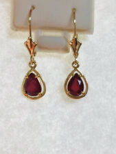 14k Solid Yellow Gold Dangle Level Back Earrings With Pear Ruby 1.79CT 1.45GM