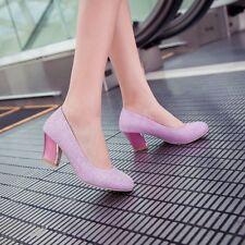 New Mary Jane Slip On Sequins Women Dress Sandal Wedding Shoes Pumps Plus Size