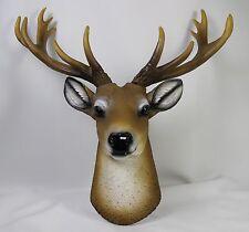 WHITE TAIL DEER HEAD WALL PLAQUE Stag Buck Antlers Figurine Statue Elk Doe Fawn