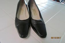 "Salvatore Ferragamo Pump, 9 AAAA, Black, 1 3/4"" heel, Leather with Patent toe"